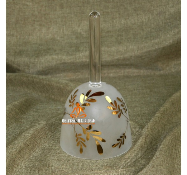 Sand blast golden leaves handle singing bowls 7 inches