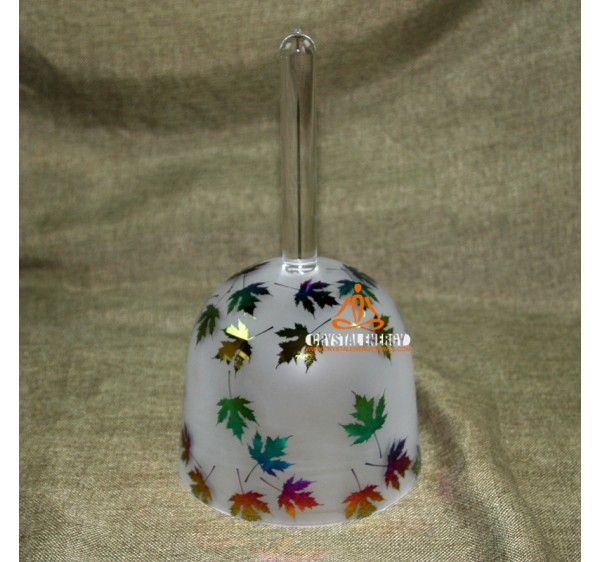 Rainbow leaves with sand blast design handle singing bowls 7 inches