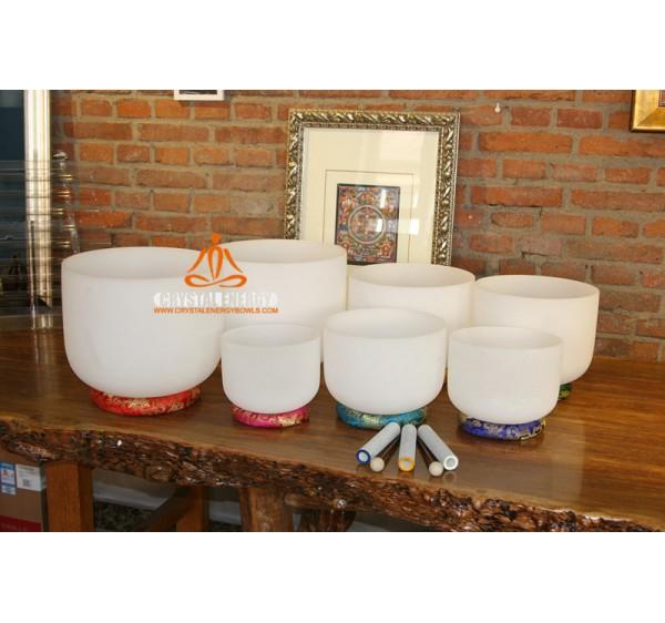 crystal singing bowl 7-12 inch set 7pcs + 7 chakras pillows + 7pcs sheepskin rods