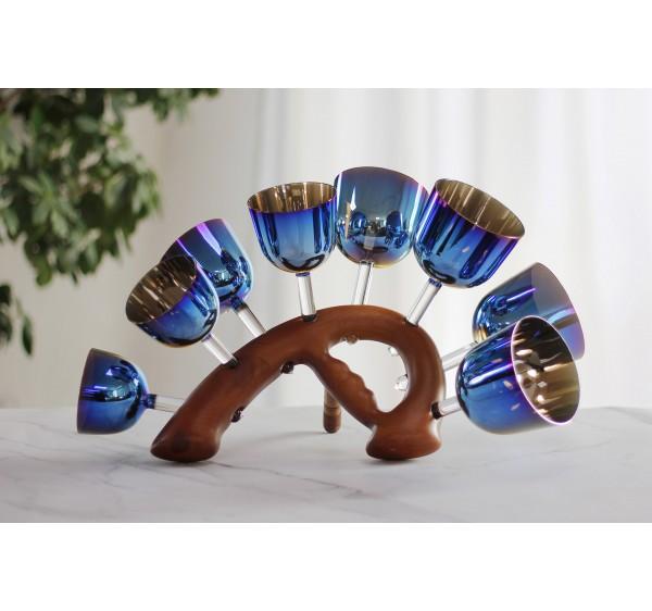 blue color crystal handle bowl set 13 pcs with perfect full tones C C# D D# E F F# G G# A A# B C