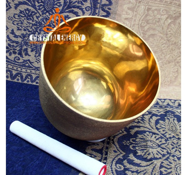 Golden inner plated frosted crystal singing bowl
