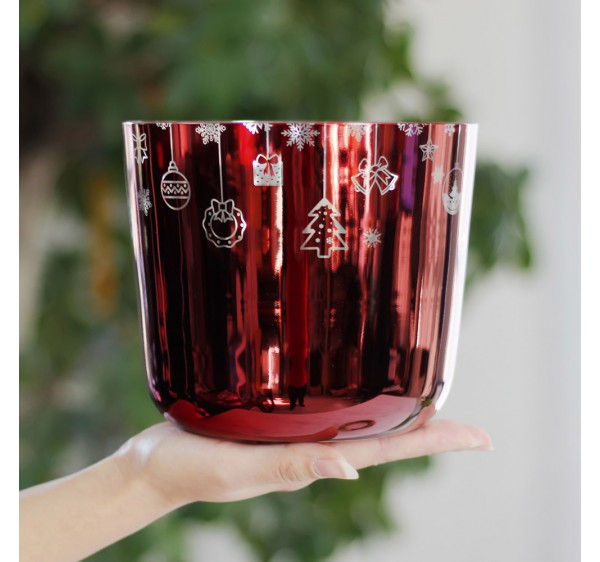 7 inch tone C root chakra  crystal singing bowl with Christmas design