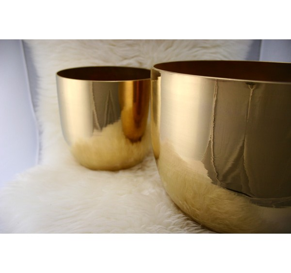 Golden plated crystal singing bowl 8 inch D D# E F F# G G#