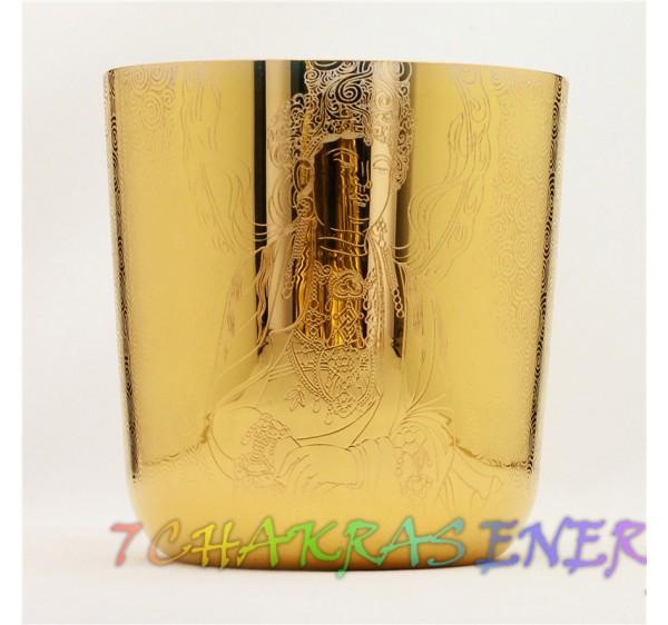 Gold plated Buddism Guan Yin design crystal singing bowl 8 inch