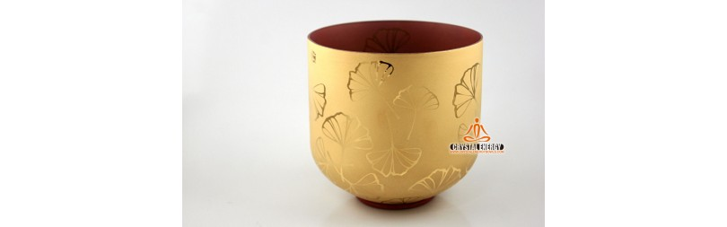 Sand blast golden gingko design crystal singing bowl 8 inches