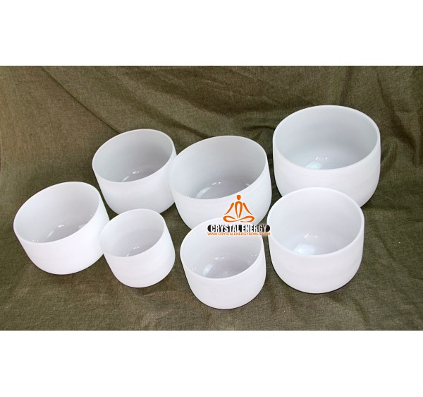 Frosted crystal singing bowl set 8-14 inches full tones C D E F G A B