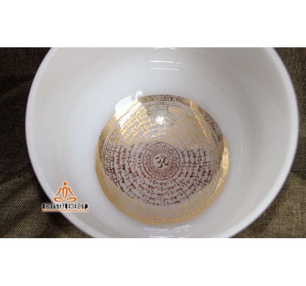 Mantra frosted crystal singing bowl 10 inch with full notes C D E F G A B